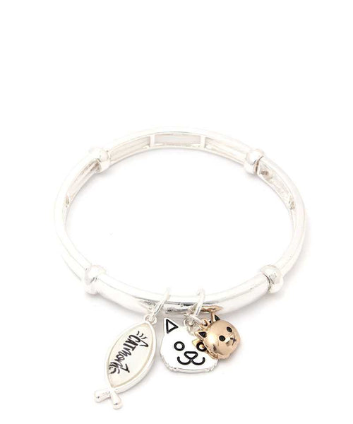Cat Charm Stretch Bracelet
