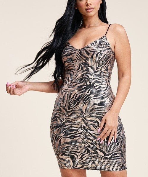Multi Color Print Metallic Trans Tank Dress