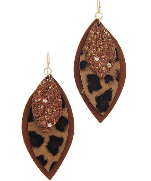 Pu Leather Pointed Drop Earring brown eazup