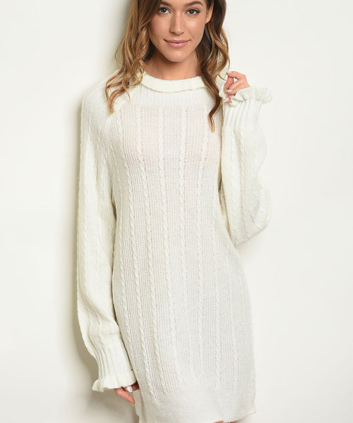 Long sleeve high neck sweater knit tunic dress white eazup