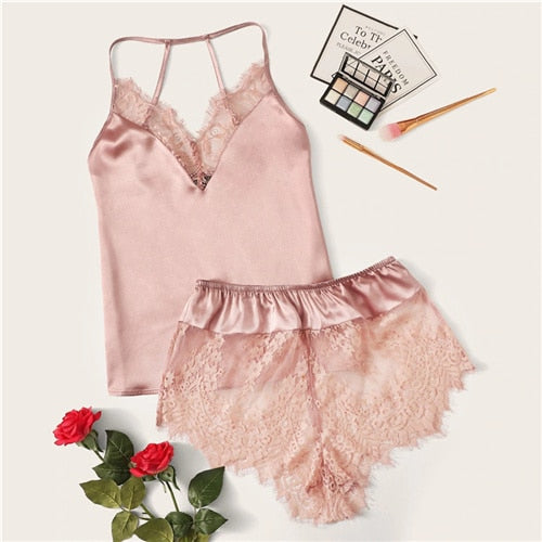Women's Lace Trim Satin Cami Top and Shorts Pj Set pink eazup