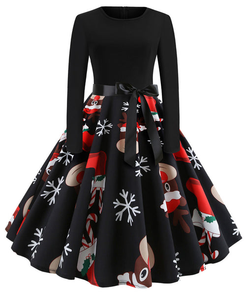 Women Winter Christmas Dresses O-neck Vintage Elegant