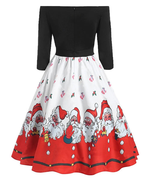 Christmas Print Women's Fashion Dress Off-Shoulder Zipper High waist