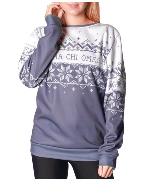 Long Sleeve Christmas Snowflake Pullover