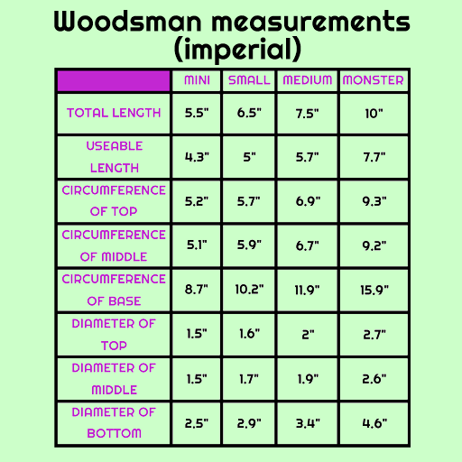Imperial size chart for Woodsman silicone dildo sex toy