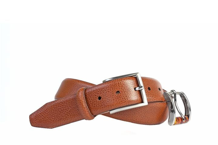 Davis 2-Buckle Scotch Grain Leather Belt - Almond