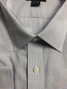 B&T Dress Shirt Spread Collar Blue Grid Check