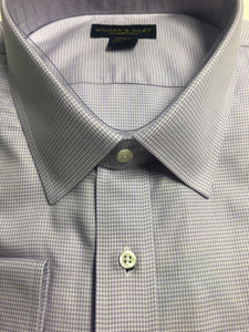 B&T Dress Shirt Spread Collar Purple Houndstooth