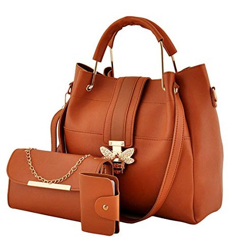 Three piece soft leather handbag