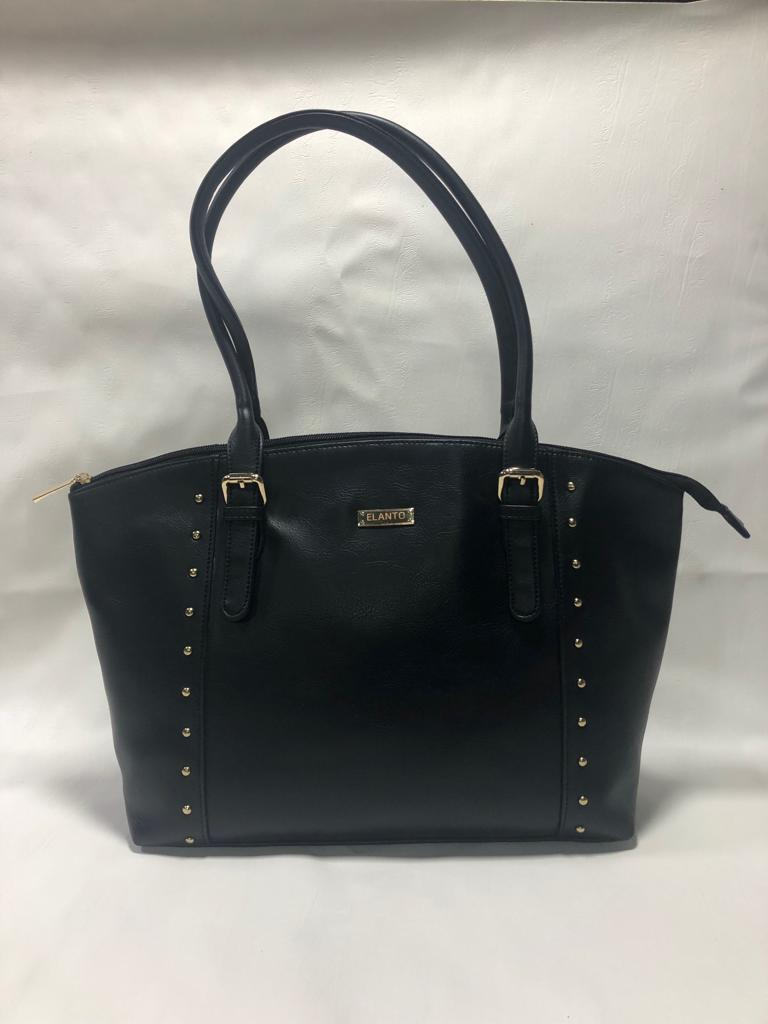 Handbag black leather designer