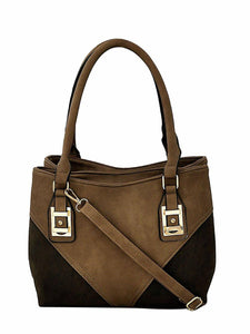 Two tone brown soft leather handbag