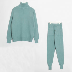 Women's Sweater Suits and Sets Turtleneck Long Sleeve Knitted Sweaters+Pockets Long Trousers 2PCS Sets Winter Costume
