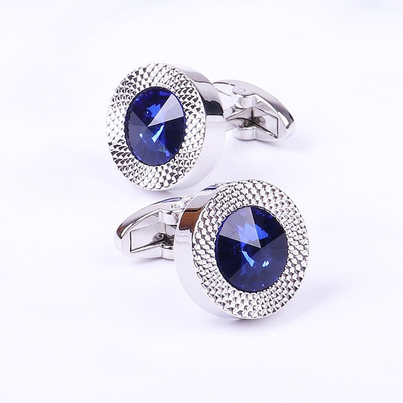 Men classic brand blue prismatic designer cuff links