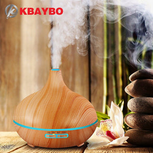 Aroma wood grain air humidifier with LED lights, essential oil aromatherapy diffuser.