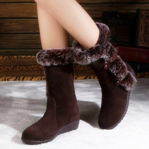 New Hot Women Boots Autumn Flock Winter Ladies Fashion Snow Boots Shoes Thigh High Suede Mid-Calf Boots 2020