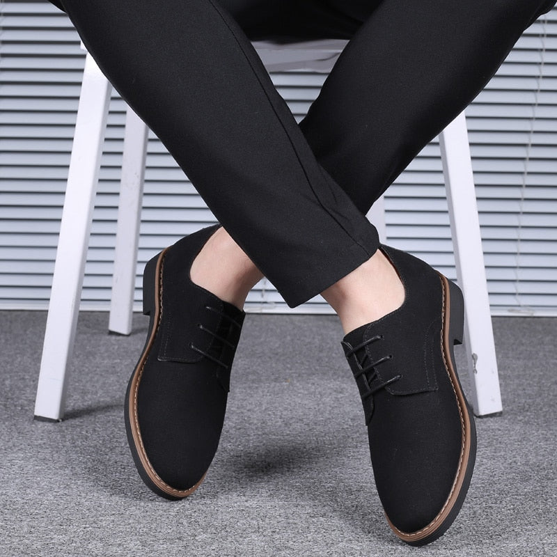 2020 High Quality Suede Leather Soft Shoes Men Loafers Oxfords Casual Male Formal Shoes Spring Lace-Up Style Men's Shoes
