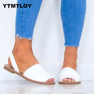 Women Sandals Plus Size 35-43 Flat Shoes Woman Ankle Strap Summer For Beach Chaussures Femme Casual  White Sandals Gladiator