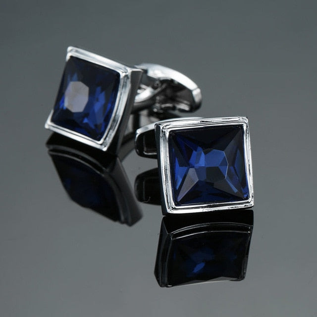 Luxury blue white and high quality crown crystal gold silver cuff links