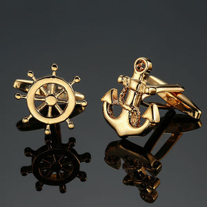 Gold silver men fashion brand double leather Cuff links