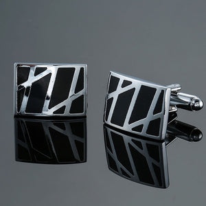 Men's French cuff links. Copper quality enamel square striped design in gold, silver, black.