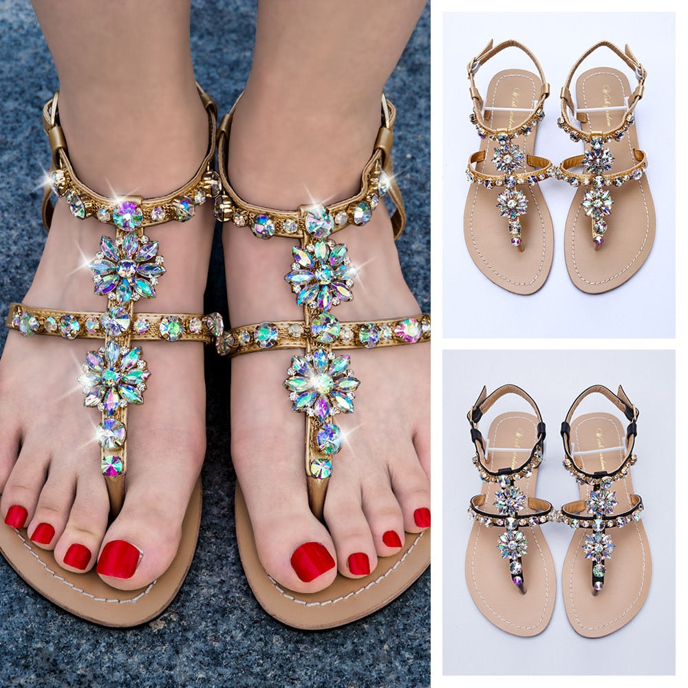 2019 NEW Women`s beach shining rhinestones shoes summer bohemia diamond sandals T-strap thong flip flops comfortable Boho shoes