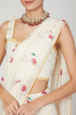 Load image into Gallery viewer, White Lotus saree blouse