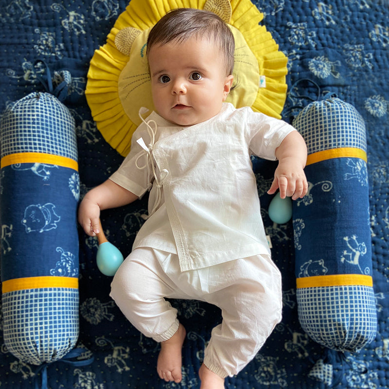UNISEX ORGANIC ESSENTIAL WHITE ANGRAKHA TOP + PANTS