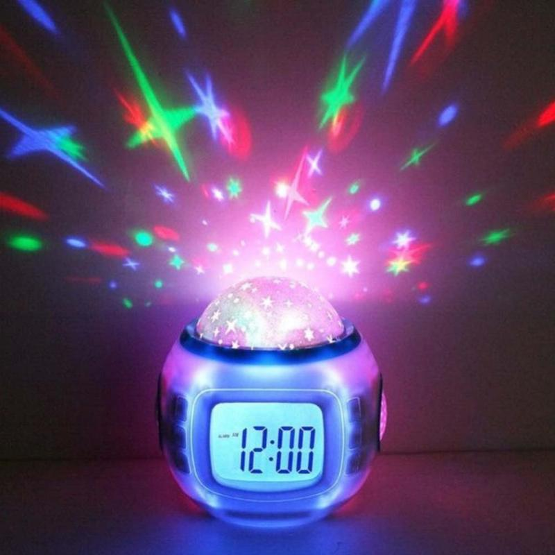 LED digital music alarm clock projection lamp romantic star room room projection lamp calendar display light