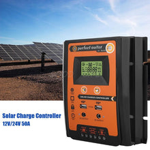 Load image into Gallery viewer, Charge controller 12V 24V 30A 50A 70A MPPT Solar Charge Controller Solar Panel Battery Regulator Dual USB LCD Display