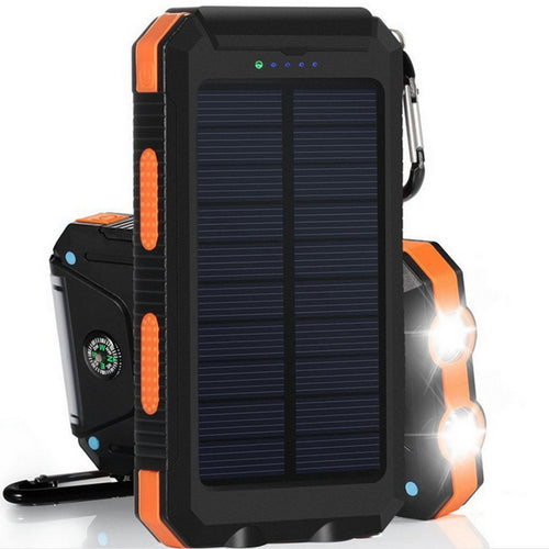 20000mAh Solar Charging Power Bank SOS Mode Portable Cell Phone Solar Charger with Dual USB Charging Ports LED Flashlight Carabiner/Compass