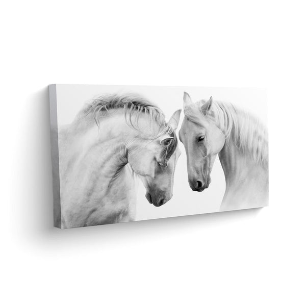 Canvas Caballos Blanco y Negro