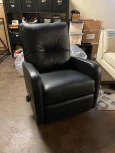 Theo Manual Rocker Recliner in Black Top Grain Leather