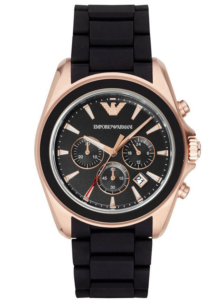 c7310b5aa47 Emporio Armani AR6066 Men s Watch Black 44mm Rose Gold Stainless Steel