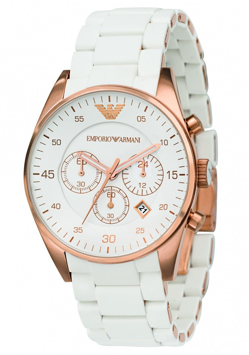 4680e9a7cbca4 Emporio Armani Sportivo White Rose Gold Quartz Analog Unisex Watch AR5919