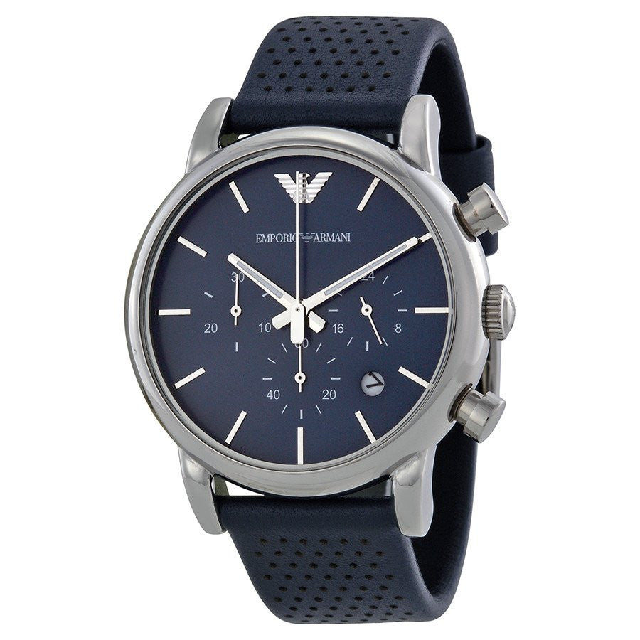 ae5087f2 Details about Emporio Armani Classic Silver/Blue Leather Quartz Men's  Chronograph Watch AR1736