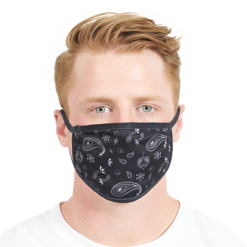 3 Pack Black Paisley Face Mask