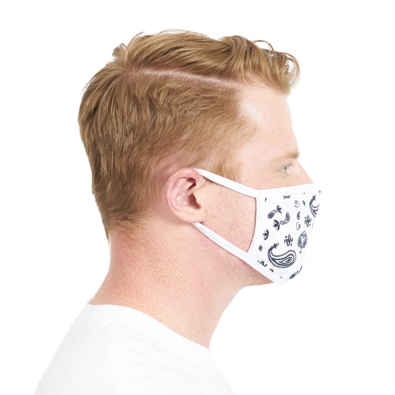 3 Pack White Paisley Face Mask