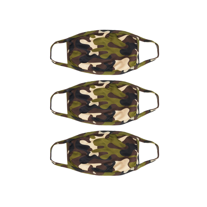 3 Pack Green Camo Face Mask