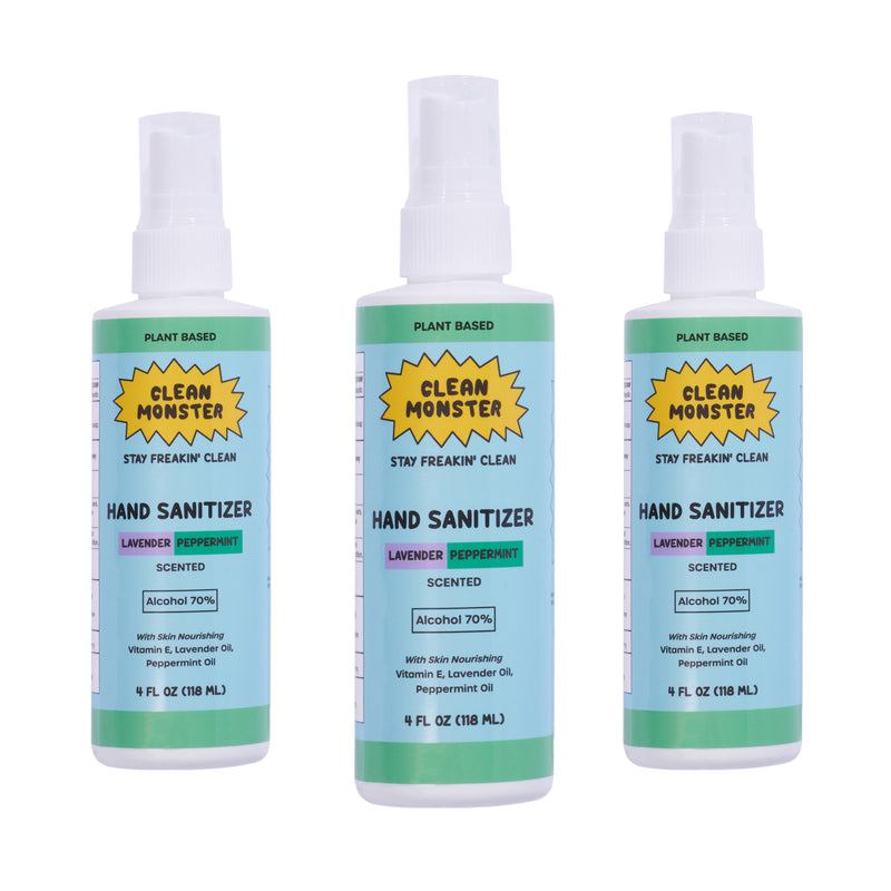 3 Pack Lavender Peppermint Hand Sanitizer Spray 4oz