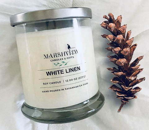 White Linen Scented Soy Wax candle