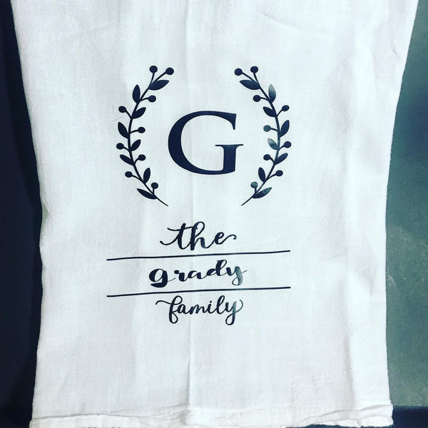 Monogrammed tea towel, personalized family name flour sack tea towel, monogrammed gift for mom
