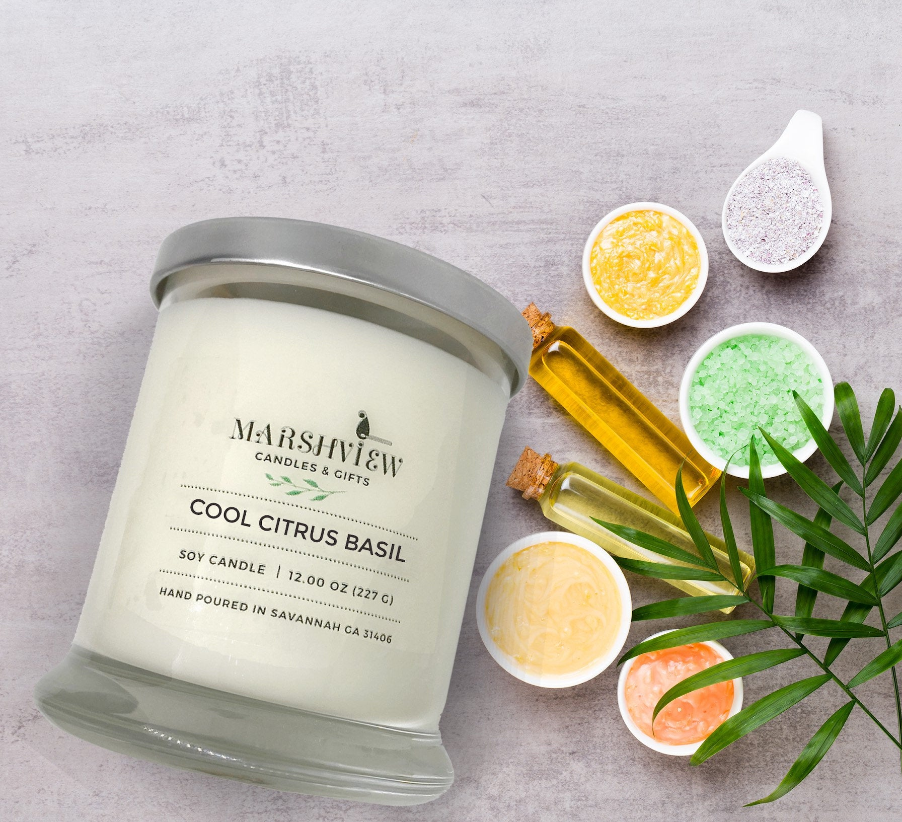 Cool Citrus Basil Scented candle/Soy Wax Candle/Wax Melts