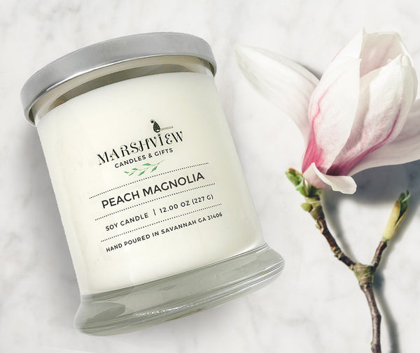 Peach Magnolia Scented Soy Wax Candle