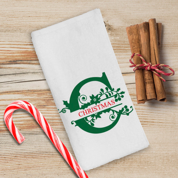 Monogrammed Christmas Kitchen Towels/Personalized Holiday Kitchen Towels