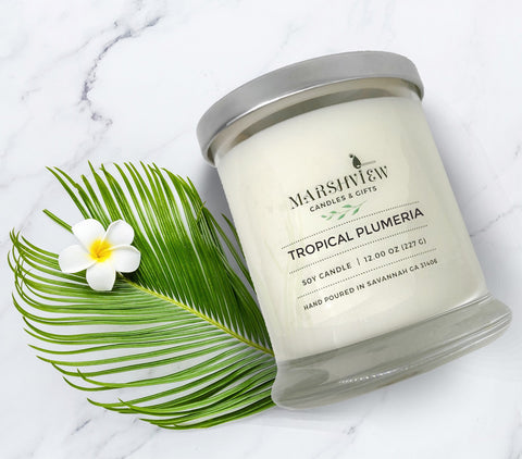 Tropical Plumeria Scented soy wax candle, Tropical Scented Candles, Plumeria Scented Candles, Candle Gift sets, Home Fragrances