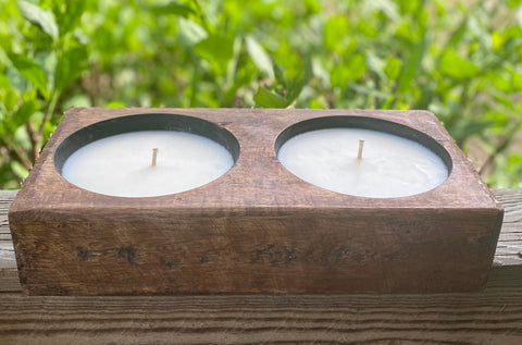 Double Wooden Cheese Mold Soy Wax Candle