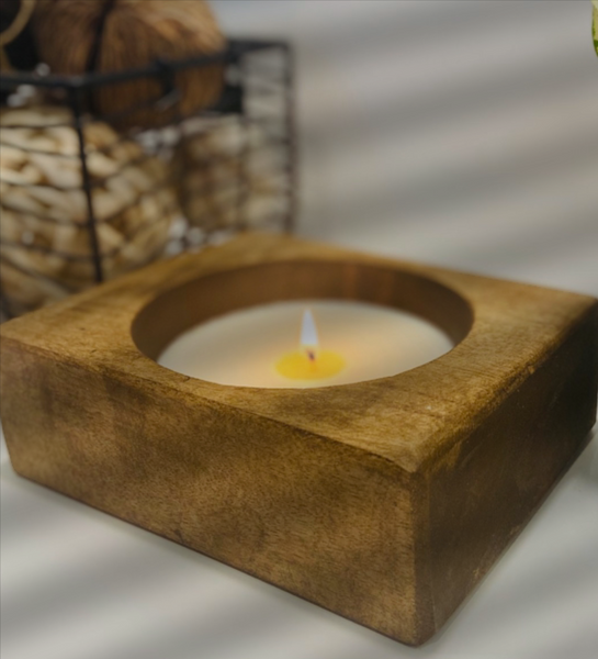 Single Wooden Cheese Mold Soy Wax Candle