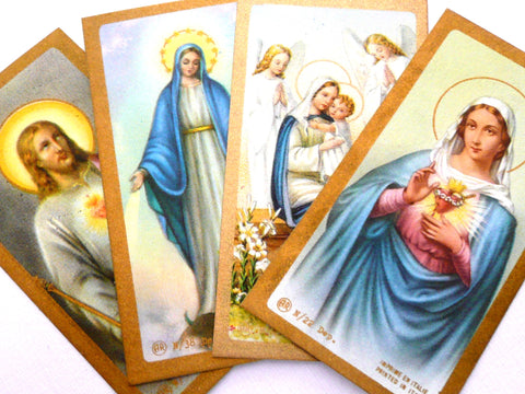 Set of Four Small Vintage Holy Cards
