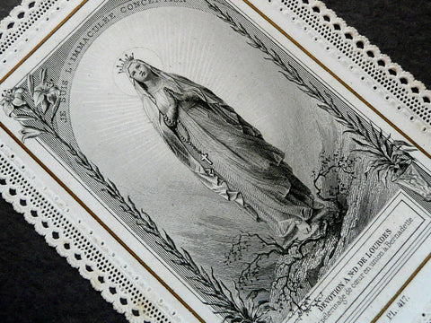 Antique Paper Lace Holy Card