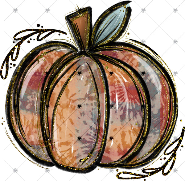 Tie Dye Fall Pumpkin Ready To Press Sublimation Transfer